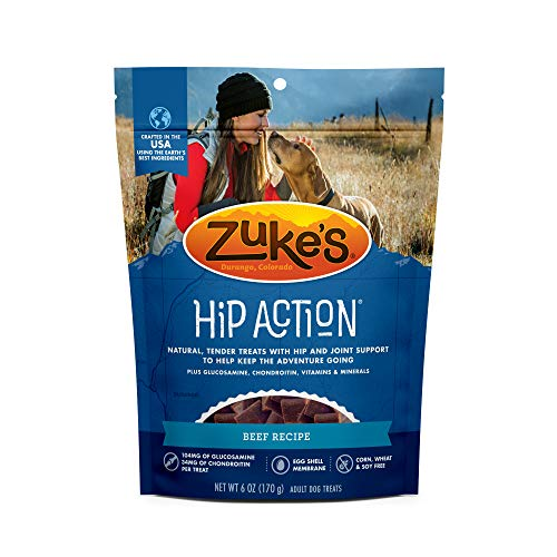 Zukes Natural Hip & Joint Dog Treats; Hip Action Recipe; Made in USA Facilities, Beef, 6 oz. Pouch