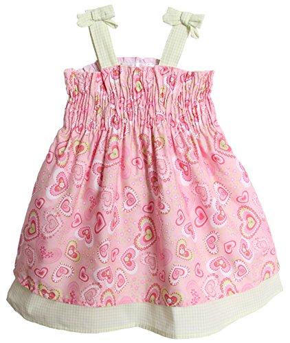 BT Kids Baby Girls' 2 Piece Pink Green Heart Gingham Summer Sundress