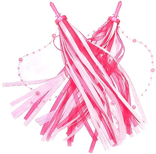 kortes 2 pcs Girls Pink Bike Streamers Kids Handlebar Streamers Bike Tassels Ribbons Kids Bike Accessories