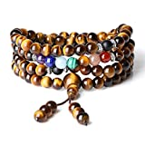 COAI Elastic String 108 Mala Beads Tiger Eye 7 Chakra Stones Prayer Necklace 6mm