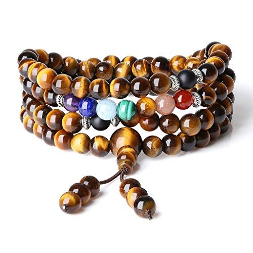 COAI Elastic String 108 Mala Beads Tiger Eye 7 Chakra Stones Prayer Necklace - Necklace Malachite Onyx