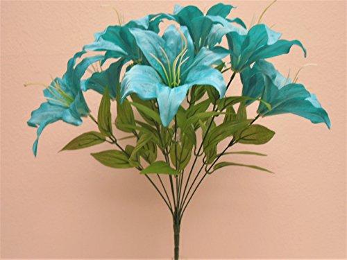 TURQUOISE BLUE Tiger Lily Bush Satin 11 Artificial Flowers 19' Bouquet 8225TQ