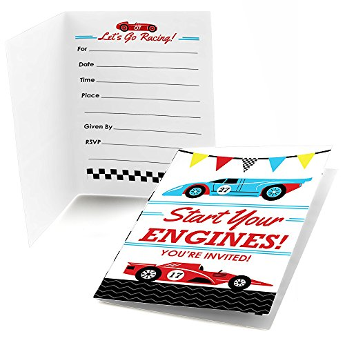 Big Dot of Happiness Let's Go Racing - Racecar - Fill in Race Car Birthday Party or Baby Shower Invitations (8 Count) -
