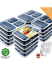 [US Deal] Save on Enther Meal Prep Containers  Food Storage Bento Box with Souffle Cups BPA Free/Reusable/Stackable, Microwave/Freezer/Dishwasher Safe, Portion Control Black 36 oz 20 Pack 3 Compartments with Portion Cups. Discount applied in price displayed.