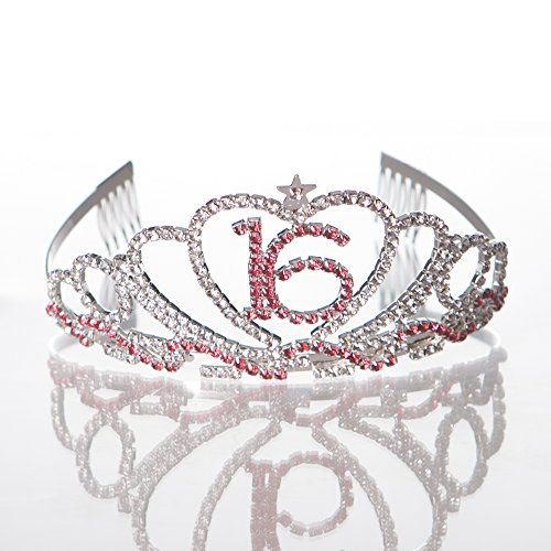 Sweet-16-Tiara-16th-Birthday-Party-Accessories-Supplies-Silver-Pink