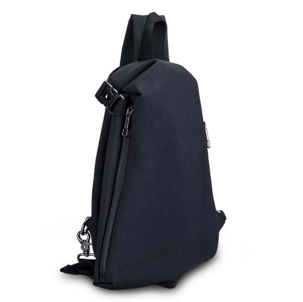 GJx Men 's Chest Pack、オックスフォード布USB充電ファッションカジュアル潮ショルダーメッセンジャーバッグ、アウトドアスポーツ多機能Smallバックパックグレー、ブラック B07FHLQMCV ブラック