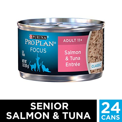 Purina Pro Plan Senior Pate Wet Cat Food, FOCUS Salmon & Tuna Entree - (24) 3 oz. Pull-Top Cans