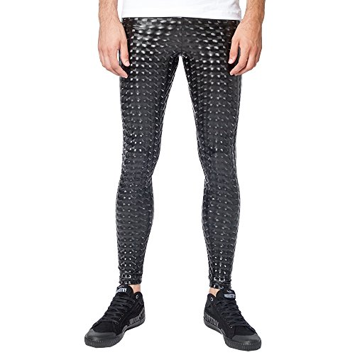 Kapow Meggings Men's Metallic Range Leggings - Holographic, Wet Look & Glitter (Black Magic, Small) (Gay Boots)