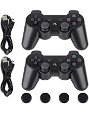 PS3 Controller-Six Axis Retropie Controller Support Wireless Bluetooth Dual Shock for Playstation 3 with Charging Cable and Joystick Cap (2 Pack, Black Joypad)