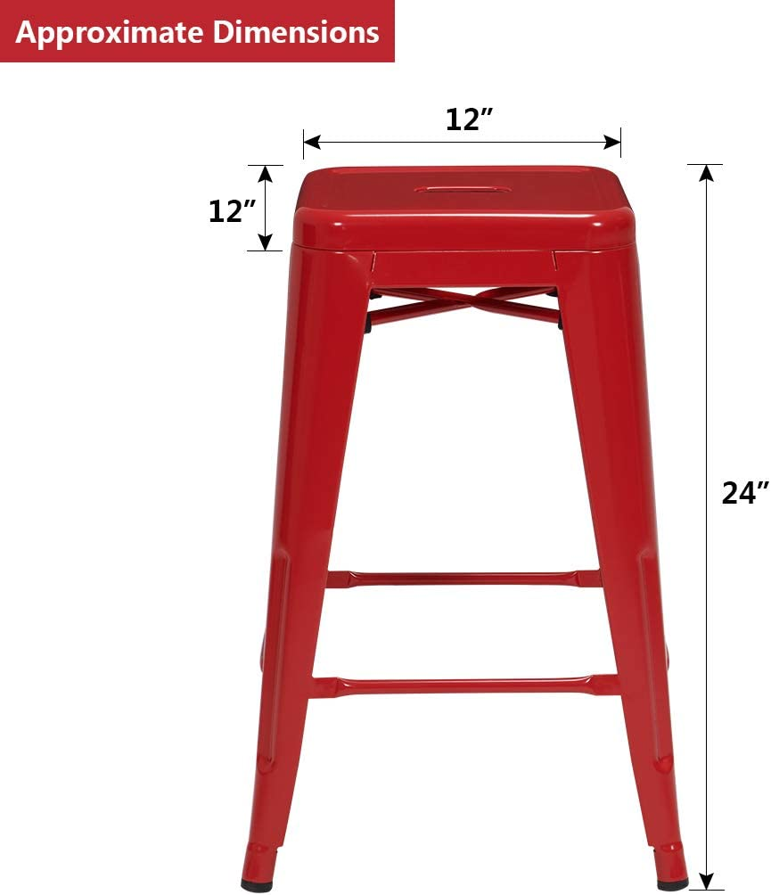 Duhome Industrial Design Metal Iron Stool 24 Set of 4 Stackable Metal Chair Red 24