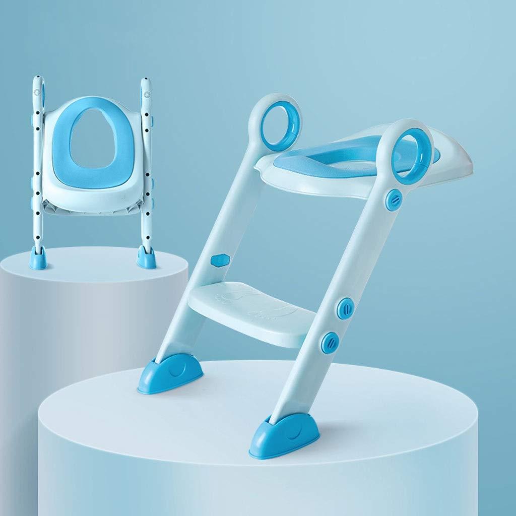 ベビートイレ- 固体および安定した多数の安全保護負荷軸受け75KG滑り止めマットデザイン子供用はしごトイレ付きPU素材 (色 : BB: sky blue (full PU))  BB: sky blue (full PU) B07PZYK125
