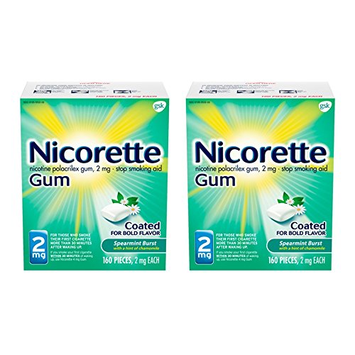 Nicorette Nicotine Gum to Quit Smoking, 2 mg, Spearmint Flavored Stop Smoking Aid, 160 Count (Pack of 2) from Nicorette