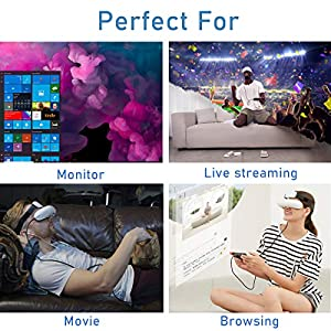 GOOVIS Young Headset with HD M-OLED Display, Eye Protection Headset Compatible with Laptop PC Xbox One Drone PS4 Nintendo Set-top Box Smartphone (White) (Color: White)