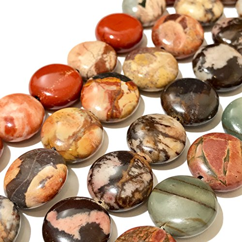 [ABCgems] Outback Jasper, Bird's Eye Rhyolite, Red Creek Jasper, White Lace Red Jasper (4 Strands Lot) 14mm Coin Beads. Each Strand 8