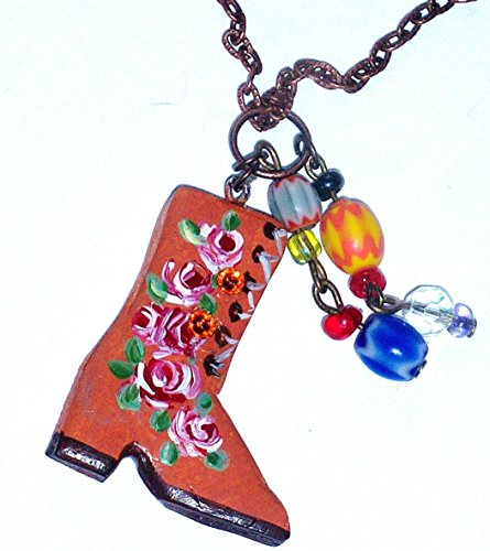 Hand Painted Boho Cowgirl Boot Charm Necklace with Dangling Glass Beads