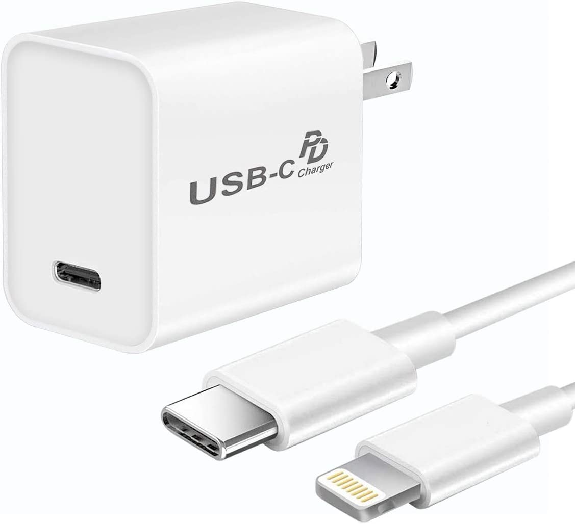 Fast Charger for iPhone 11/11 Pro/11 Pro Max/Xs Max/XR/X/8 Plus, 18W USB C PD Charger Adapter QC3.0 Wall Plug with 6FT MFi Certified USB C to Lighting Cable, Chargers for iPad Pro/iPad Air/iPad Mini