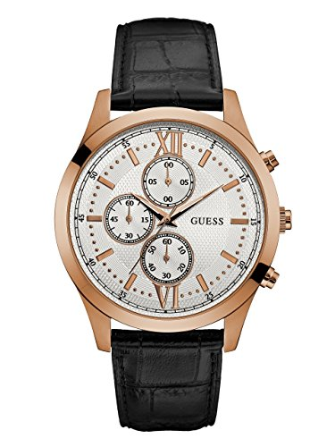 GUESS-Mens-U0876G2-Dressy-Stainless-Steel-Multi-Function-Watch-with-Chronograph-Dial-and-Genuine-Leather-Strap-Buckle