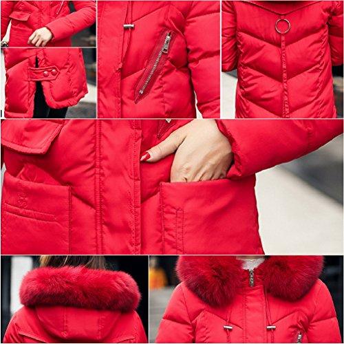 Mujeres imitación Collar la capilla delgada Escudo piel Puffer la chaqueta COMVIP Larga de Rojo de de acolchado 1w8qAH1d