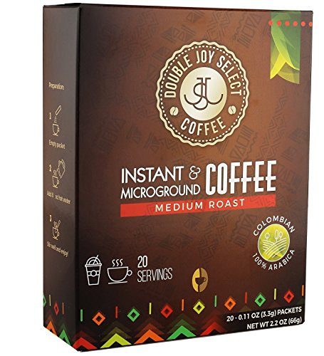 Instant Coffee Singles, Packets Tastes Like Freshly Brewed Medium Roast Colombian Blend Coffees, for Travel or Work Packs By Double Joy