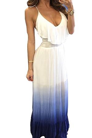 Mujer Vestidos Maxi Largos Sin Manga Vestido Casual Fiesta Vestido De Tirantes Blanco Azul S