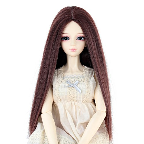 Long Straight 9-10 Inch 1/3 BJD MSD DOD Pullip Dollfie Doll Wig Centre Parting Hair Accessories Not for Human (dark brown)]()