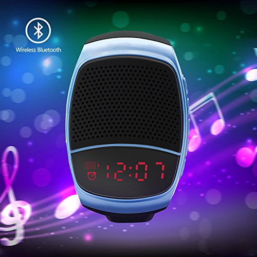 YouVogue Upgraded Multi-functional Bluetooth Watch Speaker: Mp3 Music Player, LED Display, Stopwatch, Alarm Clock, Hands-free Calls, FM Radio, Phone Anti-lost, TF Card Support, Self-timer-Gray blue