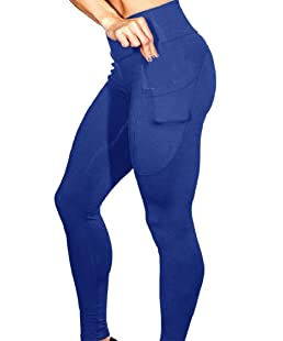 Hajotrawa Womens Pocket Stretch High Waist Butt Lift Gym Legging Pants Blue XS