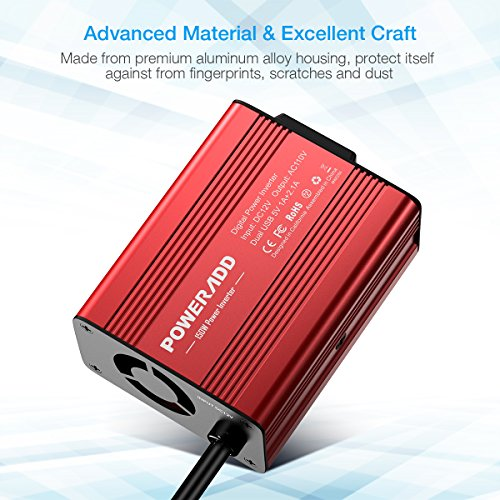 Poweradd 150W Car Power Inverter 12V/DC to 110V/AC Converter with Dual USB Ports (3.1A Total) for Smartphones, Tablet, Laptop, Breast pump, Nebulizer and More - Red by POWERADD (Image #3)