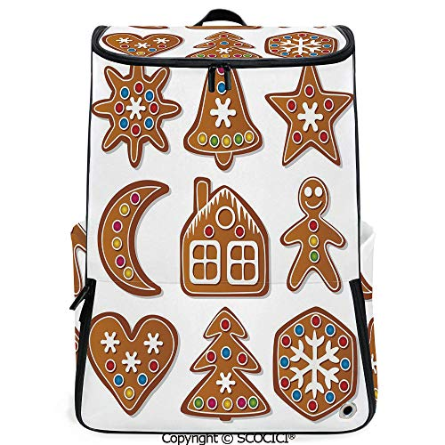 SCOCICI Laptop Backpack,Set of Graphic Gingerbread Sugar Biscuits with Colorful Dots and Bonbons,Multicolor,Customizable Multicolor for Men & Women Sport Daypack