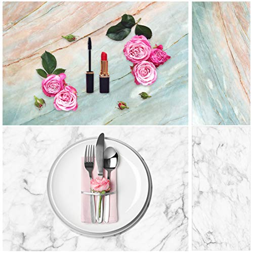Allenjoy 34.4x15.7in Double Side White Marble Photography Background 2 in 1 Matte Realistic Waterproof Paper Tabletop Backdrop Food Jewelry Cosmetics Makeup Small Product Prop Professional Photo Shoot
