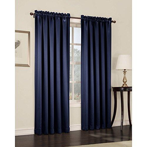 Sun Zero Barrow Energy Efficient Rod Pocket Curtain Panel, 54 x 84 Inch, Navy Blue - 84 Inch Pole Top Curtain