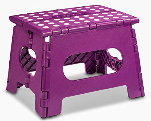 (Folding Step Stool - The Lightweight Step Stool is Sturdy Enough to Support Adults and Safe Enough for Kids. Opens Easy with One Flip. Great for Kitchen, Bathroom, Bedroom, Kids or Adults. (Purple))