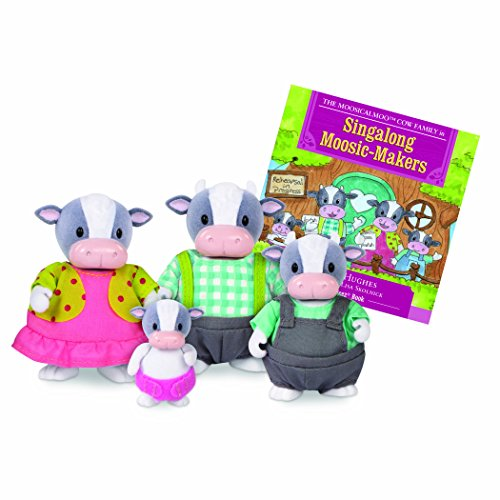 Li'l Woodzeez Woodzeez-Moosicalmoo Cow Family-5 Pcs (4 Characters, 1 Book) (Lil Cow)