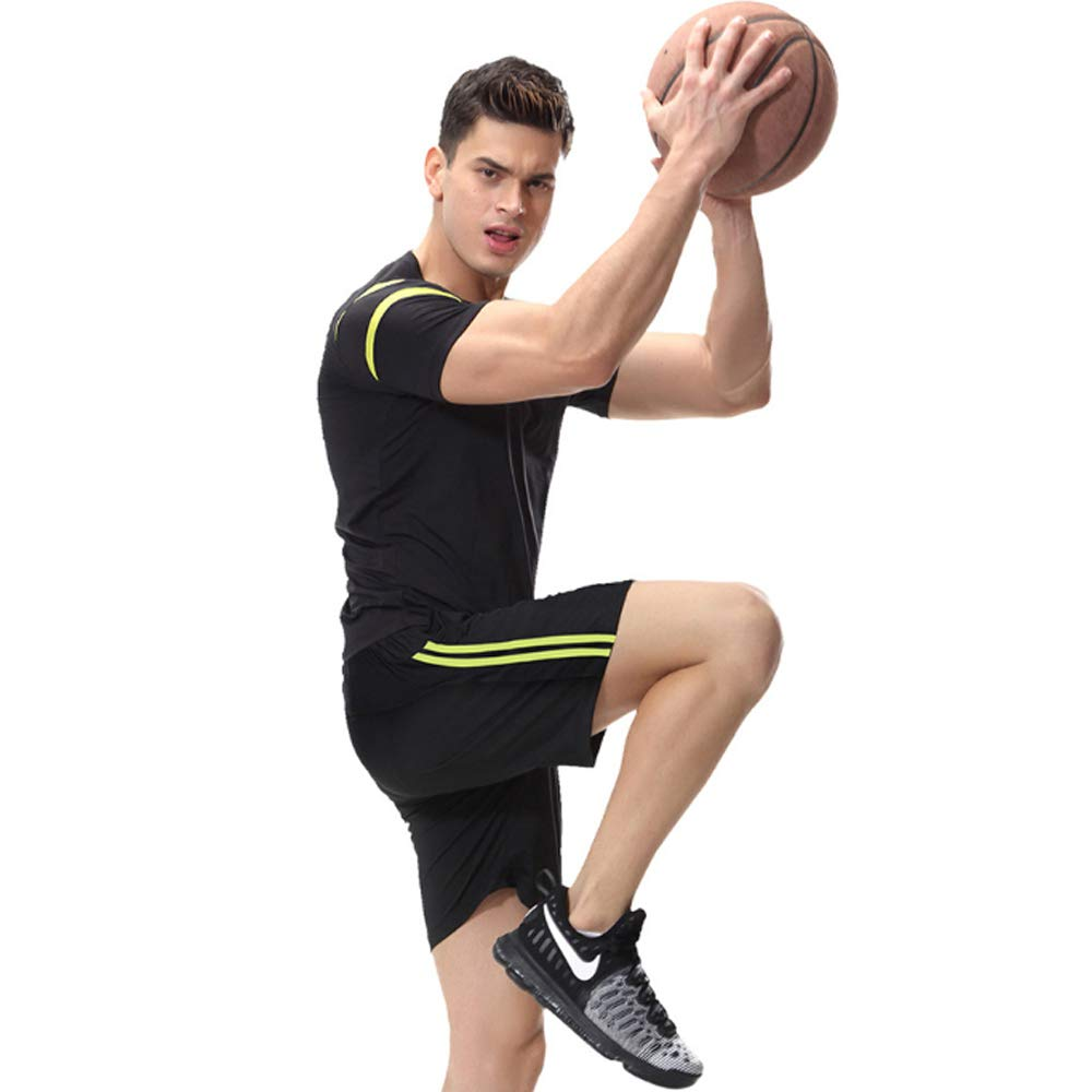 QJKai Fitness-Kleidung Herren schnell trocknende Stretch-Strumpfhose Fitness-Training Laufbekleidung Outdoor-Sportbekleidung zweiteilig