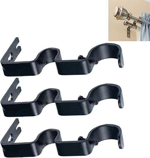 Home Curtain rods,Drapery Rod Bedroom TLBTEK 2 Pairs Double Curtain Rod Brackets,Black No Drill Hang Curtain Rod Holder,Adjustable Quick Hang Curtain Brackets Tap Right Into Window Frame for Window