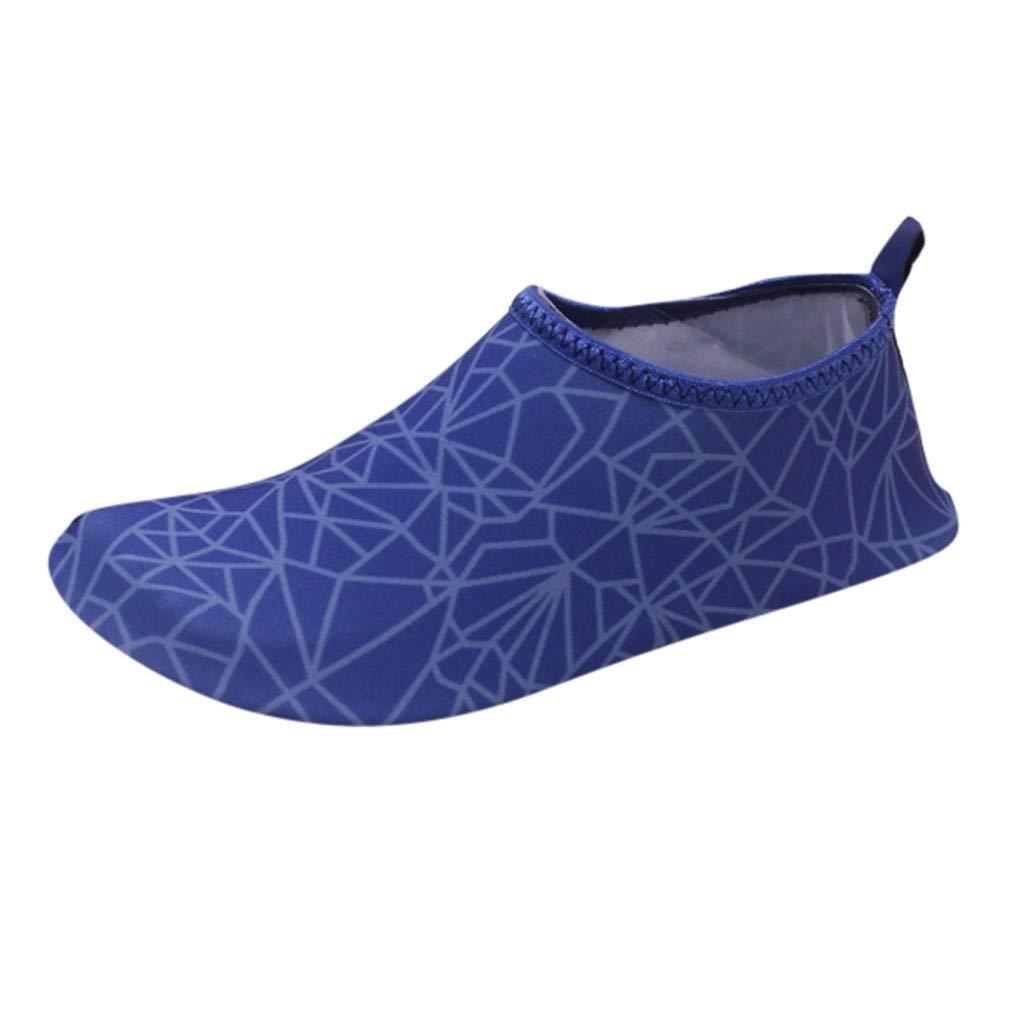 LisYOU Women Men Water Shoes Quick Dry Barefoot Aqua Yoga Beach Swim Boating Socks Surf Safe (CN 34-35, E-Dark Blue)