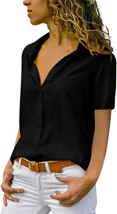 HUPOO Womens Casual T-Shirts V Neck Half Sleeve Shirts Tops
