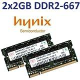 4GB Dual Channel Kit HYNIX original 2 x 2048MB 200 pin DDR2-667 (PC2-5300) SO-DIMM double side für DDR2 NOTEBOOKs