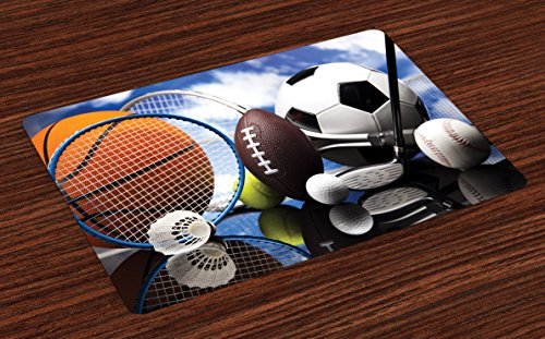 Lunarable Sports Place Mats Set of 4, Sports Equipment Football Soccer Darts Ice Hockey Baseball Basketball Theme, Washable Fabric Placemats for Dining Room Kitchen Table Decoration, Black Orange Blue