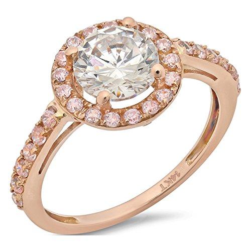 2.55 Ct Round Cut Solitaire Pave Bridal Engagement Bridal Anniversary Band Ring Halo 14K Rose Gold, Size 5.5, Clara - Tiffany Band Rose Gold