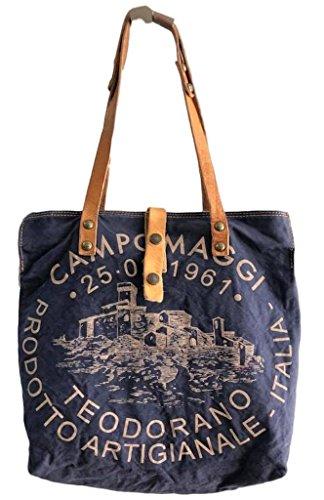 Campomaggi Shopper C1389ML-T / Blu+St.Beige - LANGE Riemen - 2018