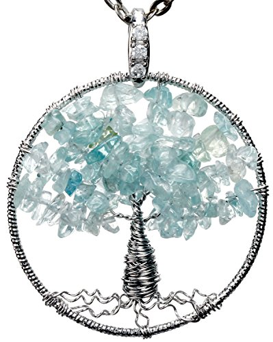 Aquamarine Tree of Life Gemstone Jewelry Best Friend Necklace Silver Pendant Deluxe Gift 18