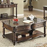 Trent Home Lockwood Cocktail Table with Marble Top For Sale