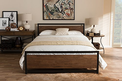 Baxton Studio Panel Bed in Walnut (Queen: 83.46