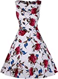 OWIN Women's Vintage 1950's Floral Spring Garden Picnic Dress Party Cocktail Dress (S, White+Red)