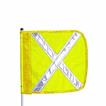Flagstaff FS10 Split Pole Safety Flag with Reflective X, Male Quick Disconnect Base