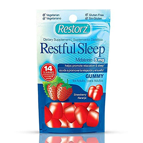 Restful Sleep Gummies with Melatonin 5mg by Restorz | Natural 5mg Melatonin Gummies Supplement to Combat Insomnia | Aids Relaxation and Healthy Sleep Cycle ● Tasty Strawberry Flavor ● 168 Gummies