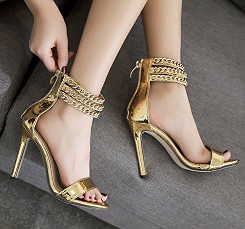 Aisun Damen Lack Kunstleder Offene Zehen Metallic Knöchelriemchen Stiletto Sandale mit Reißverschluss Gold