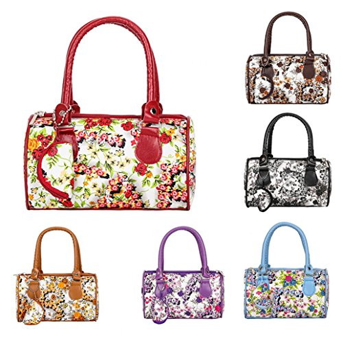 Travel Leather Bag Tote Floral Large Capacity Women for Shopping Print Blue funie Handbag Faux FxIF0