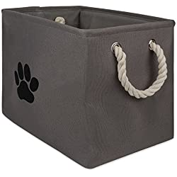 DII Bone Dry Pet Toy and Accessory Storage Bin, Collapsible Organizer Storage Basket for Home Décor, Pet Toy, Blankets, Leashes and Food, Paw Gris, Rectangle Mediano